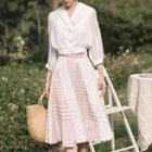 Set: V-neck 3/4-sleeve Blouse + Patterned A-line Skirt