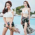 Set: Floral Print Bikini + Lace Top + Beach Cover-up
