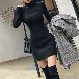 Long-sleeve Turtleneck Mini Knit Bodycon Dress