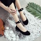Ankle Strap Velvet Flats