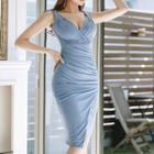 Sleeveless Shirred Plain Dress