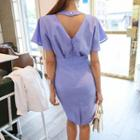 Short-sleeve Shirred Midi Sheath Dress