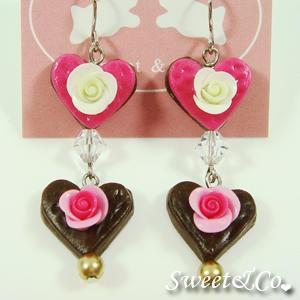 Sweet Lover Heart Rose Chocolate Earrings