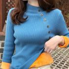 Fleece-lined Button Accent Long Sleeve Knit Top
