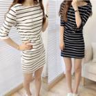 Pinstriped Elbow-sleeve Sheath Dress