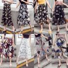 Print Wide-leg Chiffon Capri Pants