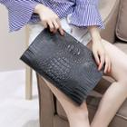 Croc-embossed Faux Leather Clutch