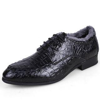 Genuine Leather Croc-grain Oxfords