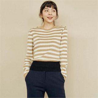 Button-trim Stripe Knit Top