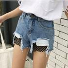 Fishnet Panel Ripped Denim Shorts