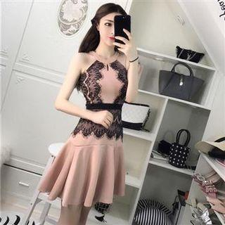 Sleeveless Lace Panel A-line Dress As Shown In Figure - One Size