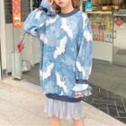 Chiffon Panel Printed Sweatshirt Dress