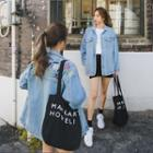 Embroidered-lettering Washed Denim Jacket