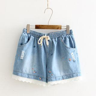Embroidered Lace Panel Denim Shorts