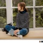 Letter Embroidered Mock Neck Striped Pullover