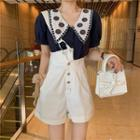 Embroidered-collar Crop Shirt / Asymmetric Wide Shorts With Strap