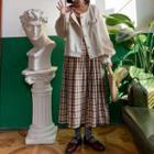 Gingham Pleated Maxi Skirt