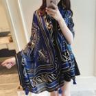 Printed Shawl Blue & Black - One Size