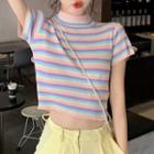 Mock Neck Stripe Top As Shown In Figure - One Size