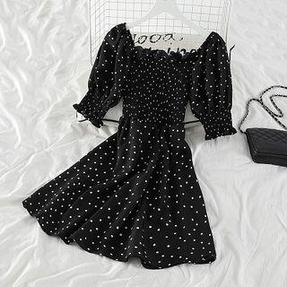 Dotted Short-sleeve A-line Dress Polka Dot - Black - One Size