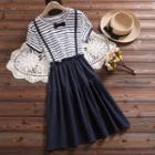 Mock Two-piece Short-sleeve Striped Dress