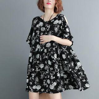 Elbow-sleeve Cold Shoulder Floral Print Dress Black - One Size
