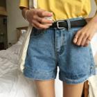 Plain Loose-fit Denim Shorts