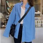 Long-sleeve Plaid Shirt Shirt - Plaid - Blue - One Size