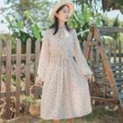 Spot Print Long-sleeve A-line Midi Dress