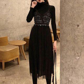 Mock Turtleneck Knit Top / Spaghetti Strap Midi Mesh Panel Dress