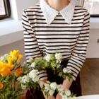 Lace-collar Striped Top