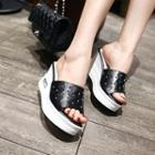 Star Perforated Wedge Slide Sandals