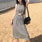 Sleeveless Cut Out A-line Midi Dress
