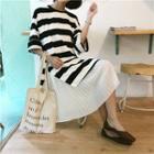 Mock-two Striped Pleated Chiffon Short-sleeve Dress