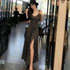 Dotted Spaghetti Strap Chiffon Dress