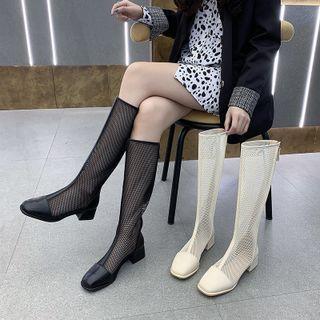 Chunky Heel Mesh Tall Boots