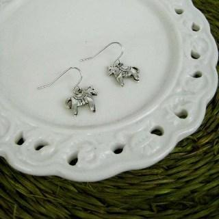 Silver Little Horse Earrings Silver - One Size