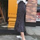 Ruffle Hem Floral Print Midi Skirt