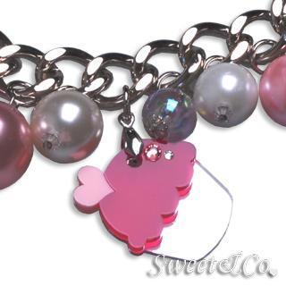 Mini Silver Fuchsia Cupcake Swarovski Crystal Charm Bracelet Silver - One Size