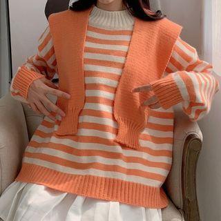 Set: Striped Sweater + Hooded Knit Shawl