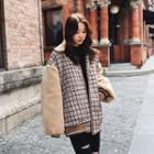 Fleece Panel Plaid Zip Jacket