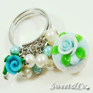 Sweet Mini Blue Glitter Cupcake Floral Ring