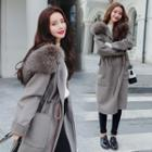 Furry-trim Zip Hooded Coat