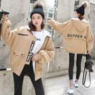 Fleece-lined Lettering Zip Hooded Jacket