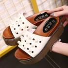 Faux Pearl Platform Slide Sandals