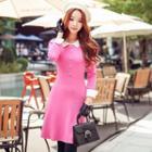 3/4-sleeve Buttoned Dress