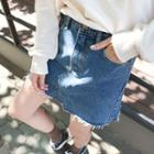 Fray-hem Distressed Denim Miniskirt