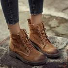 Lace-up Genuine Leather Short Boots