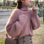 Turtleneck Cable-knit Furry Sweater