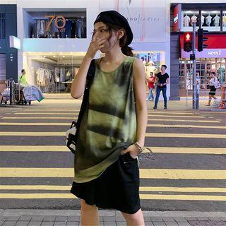 A-line Tie-dye Tank Dress Green - One Size